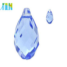 Glass teardrop faceted diamond top drilled drop